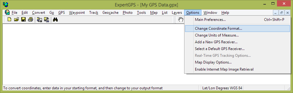 Convert WGS 1984 TM 116 SE, WGS 1984 TM 132 SE using ExpertGPS