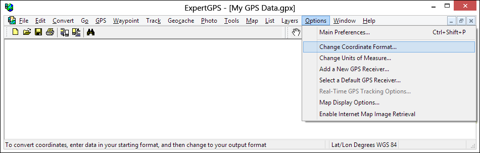 Convert  using ExpertGPS