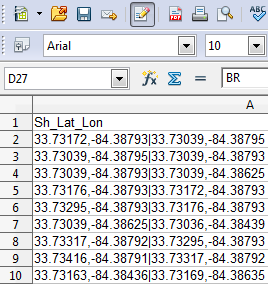 Route start and end points with latitude and longitude in Excel spreadsheet