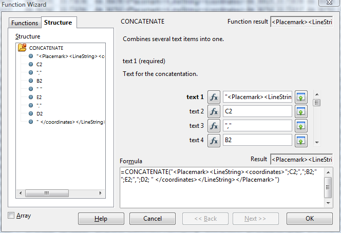 Using Concatenate in Excel to construct KML from CSV data