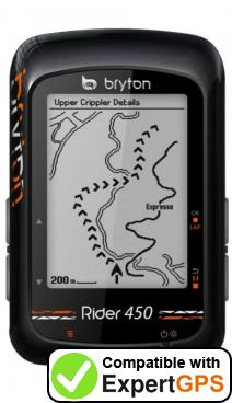 Download your Bryton Rider 450 waypoints and tracklogs and create maps with ExpertGPS