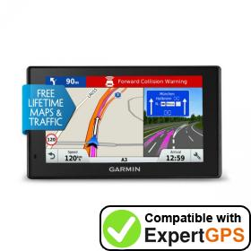 Download your Garmin DriveAssist 51 LMT-D waypoints and tracklogs and create maps with ExpertGPS