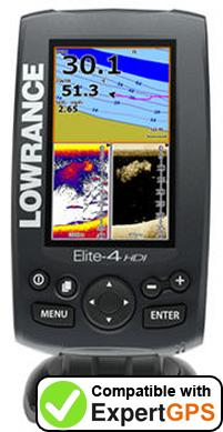 Download your Lowrance Elite-4 HDI waypoints and tracklogs and create maps with ExpertGPS