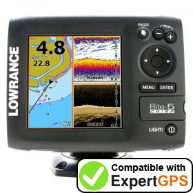 Download your Lowrance Elite-5 CHIRP Gold waypoints and tracklogs and create maps with ExpertGPS