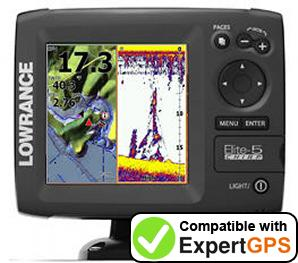 Download your Lowrance Elite-5 CHIRP waypoints and tracklogs and create maps with ExpertGPS