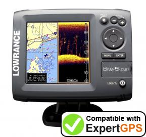 Download your Lowrance Elite-5 DSI waypoints and tracklogs and create maps with ExpertGPS