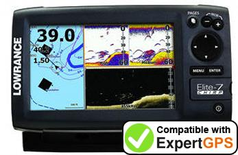 Download your Lowrance Elite-7 CHIRP Gold waypoints and tracklogs and create maps with ExpertGPS