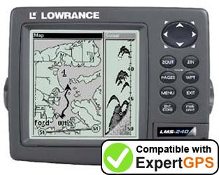 Download your Lowrance LMS-240 waypoints and tracklogs and create maps with ExpertGPS