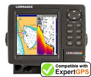 Download your Lowrance LMS-520C waypoints and tracklogs and create maps with ExpertGPS