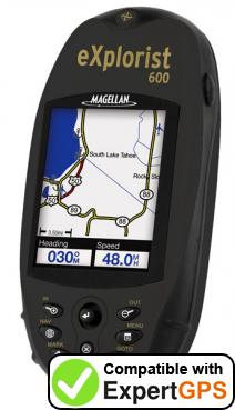 Download your Magellan eXplorist 600 waypoints and tracklogs and create maps with ExpertGPS