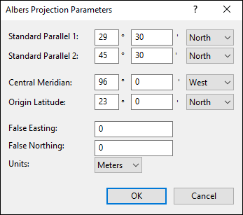 Albers Equal-Area Conic Projection Parameters dialog