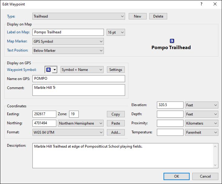 Edit Waypoint Dialog