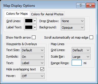 Map Display Options dialog