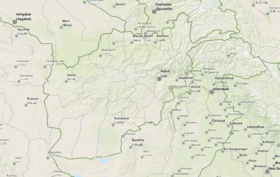 Map of Afghanistan in ExpertGPS GPS Mapping Software