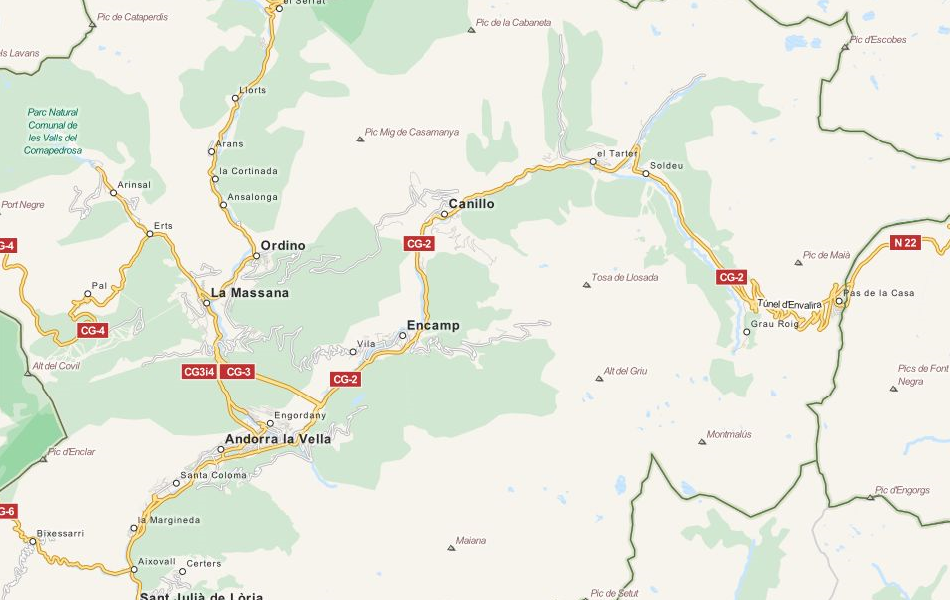Map of Andorra in ExpertGPS GPS Mapping Software