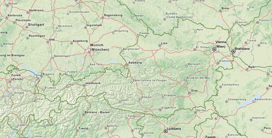Map of Austria in ExpertGPS GPS Mapping Software