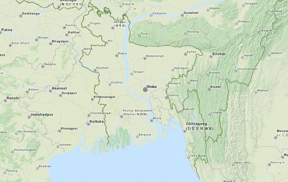 Map of Bangladesh in ExpertGPS GPS Mapping Software