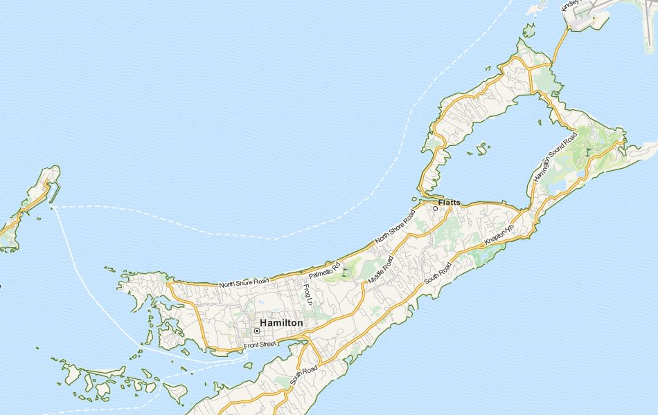 Map of Bermuda in ExpertGPS GPS Mapping Software