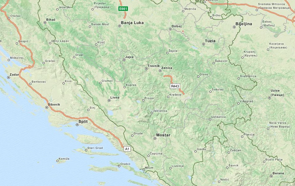 Map of Bosnia and Herzegovina in ExpertGPS GPS Mapping Software