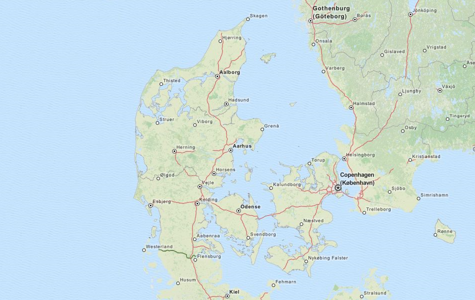 Map of Denmark in ExpertGPS GPS Mapping Software