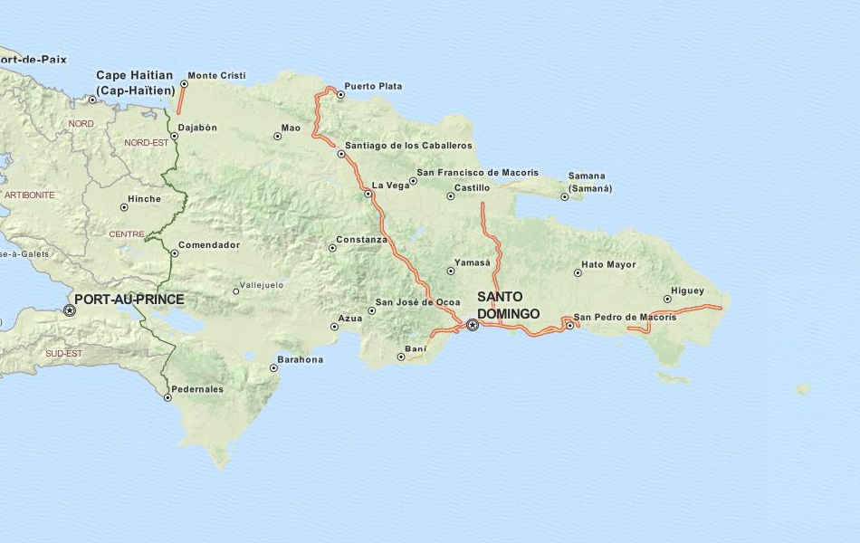 Map of Dominican Republic in ExpertGPS GPS Mapping Software