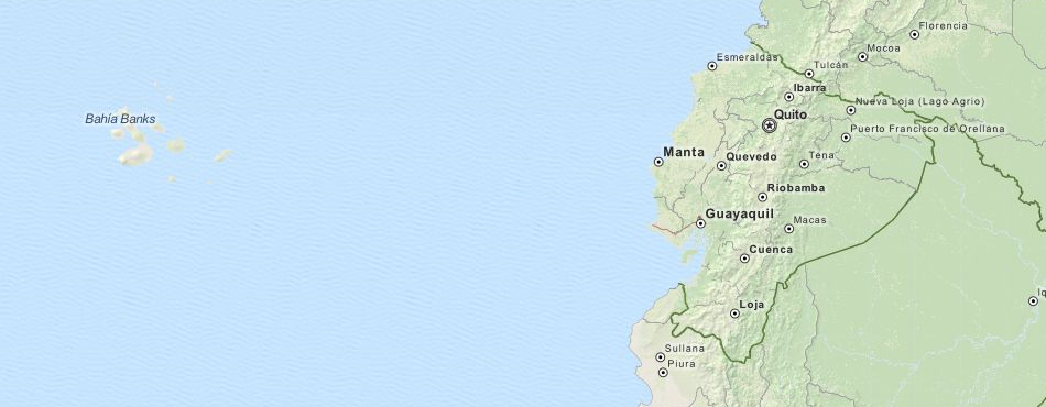 Map of Ecuador in ExpertGPS GPS Mapping Software