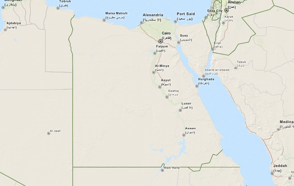 Map of Egypt in ExpertGPS GPS Mapping Software