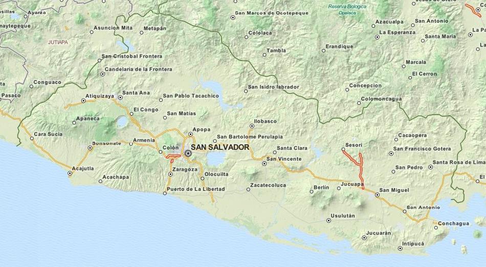 Map of El Salvador in ExpertGPS GPS Mapping Software