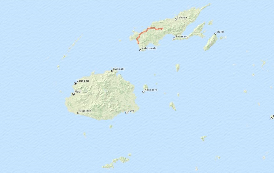 Map of Fiji in ExpertGPS GPS Mapping Software
