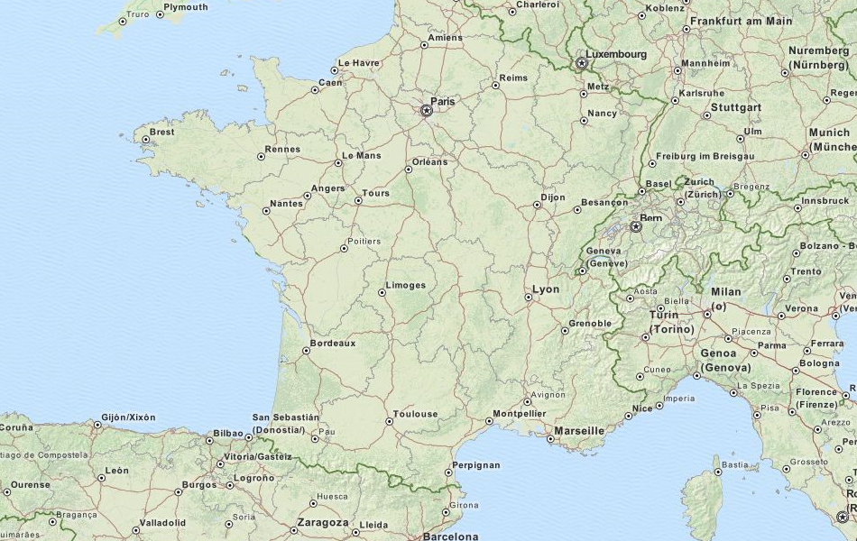 Map of France in ExpertGPS GPS Mapping Software