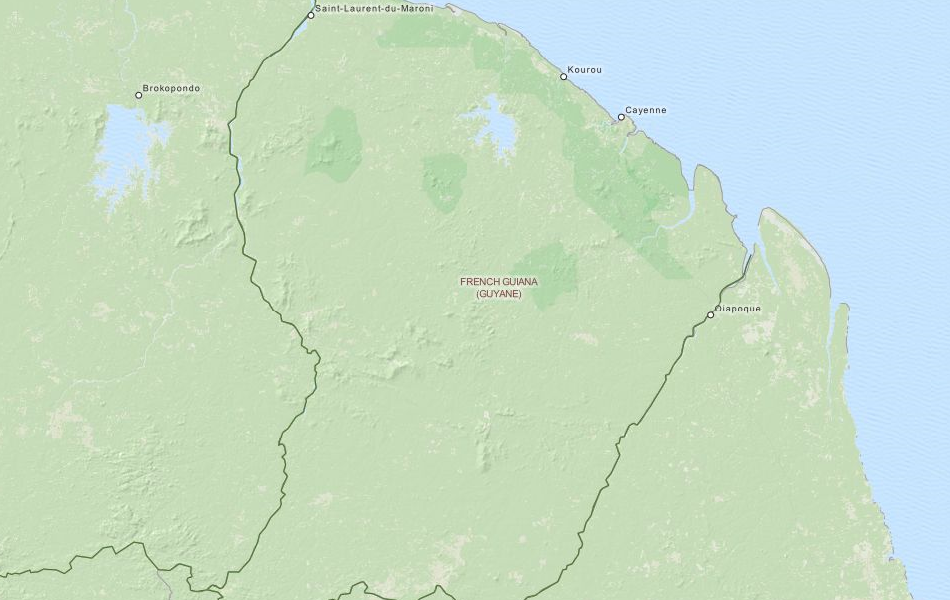 Map of French Guiana in ExpertGPS GPS Mapping Software