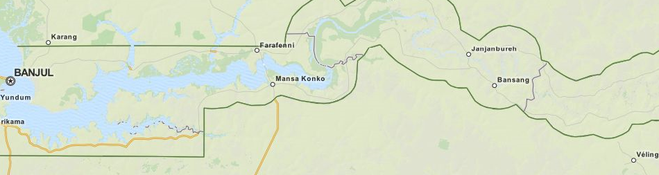 Map of Gambia in ExpertGPS GPS Mapping Software