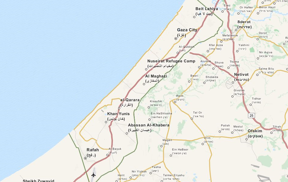 Map of Gaza Strip in ExpertGPS GPS Mapping Software