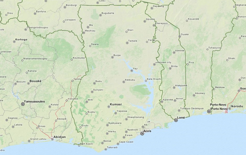 Map of Ghana in ExpertGPS GPS Mapping Software