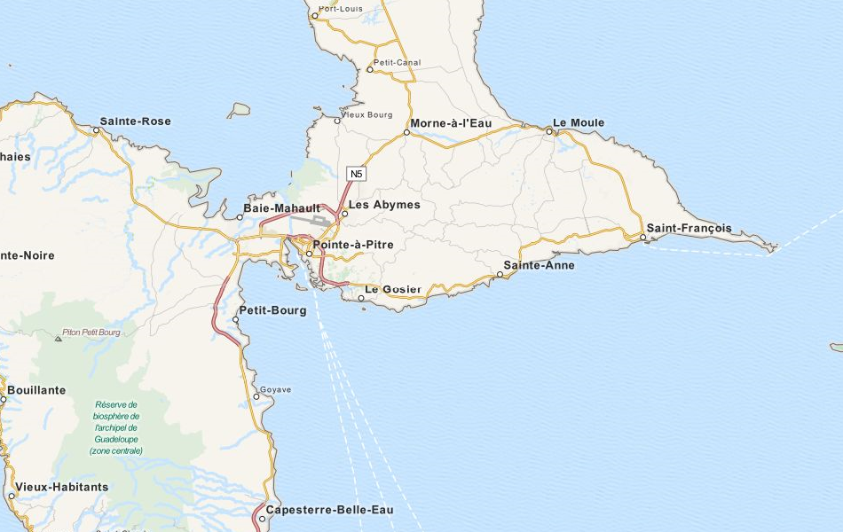 Map of Guadeloupe in ExpertGPS GPS Mapping Software