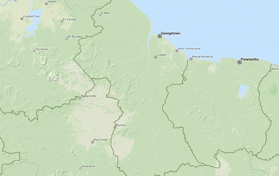 Map of Guyana in ExpertGPS GPS Mapping Software
