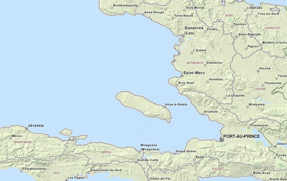 Map of Haiti in ExpertGPS GPS Mapping Software