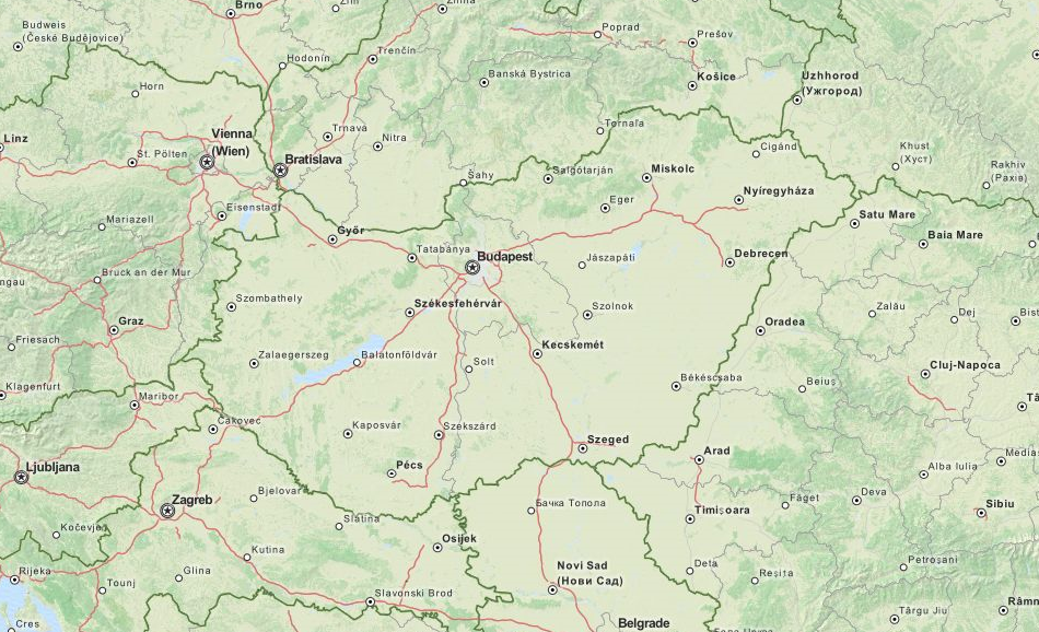 Map of Hungary in ExpertGPS GPS Mapping Software