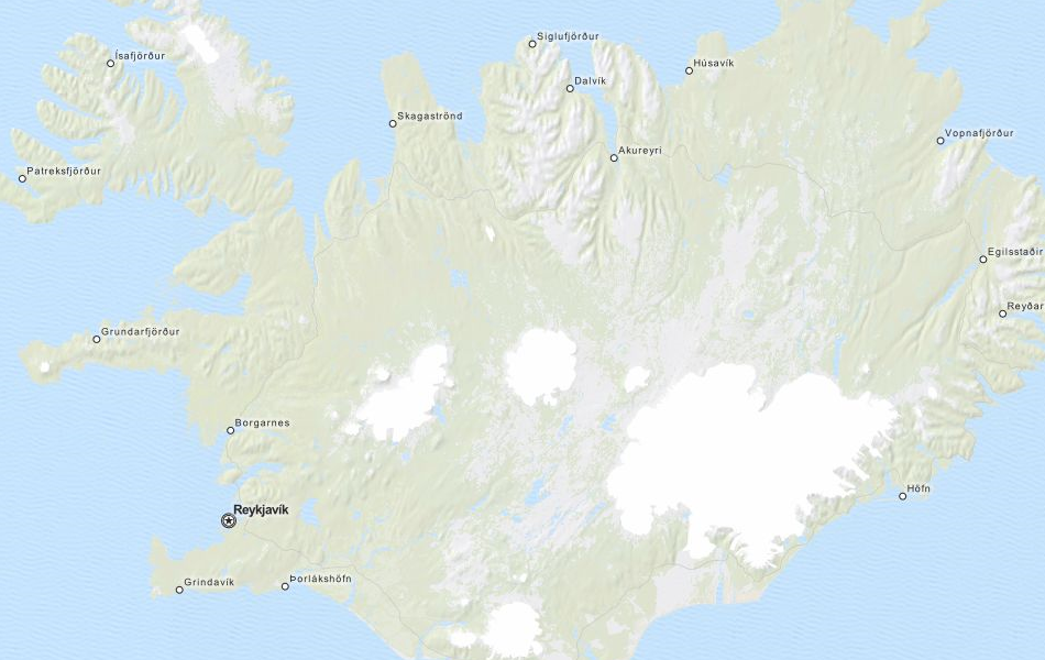 Map of Iceland in ExpertGPS GPS Mapping Software