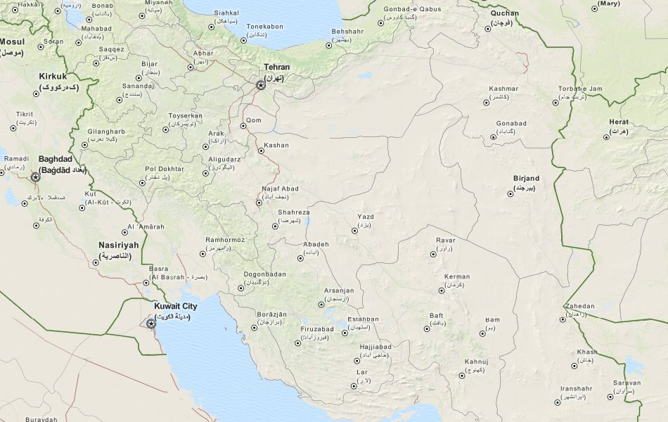 Map of Iran in ExpertGPS GPS Mapping Software