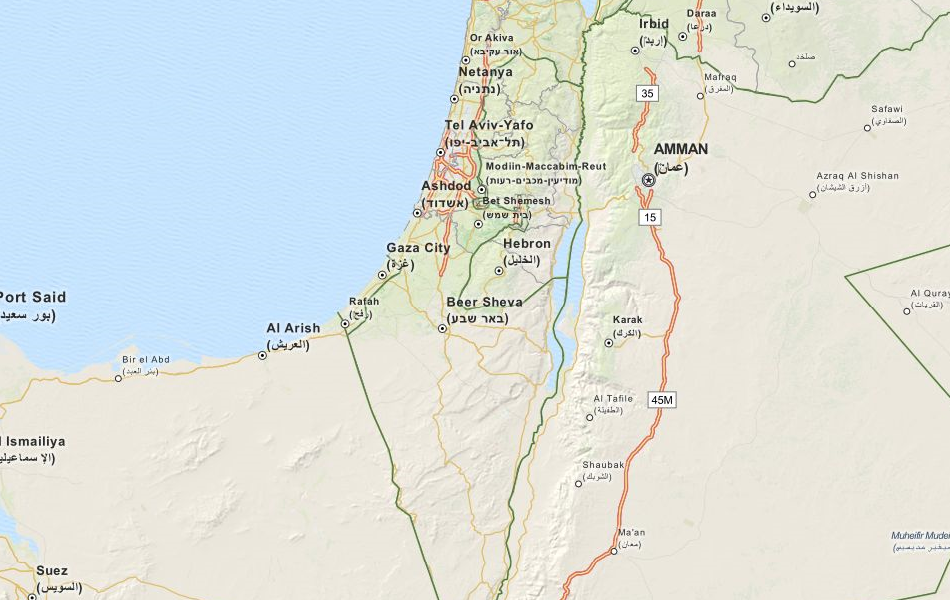 Map of Israel in ExpertGPS GPS Mapping Software