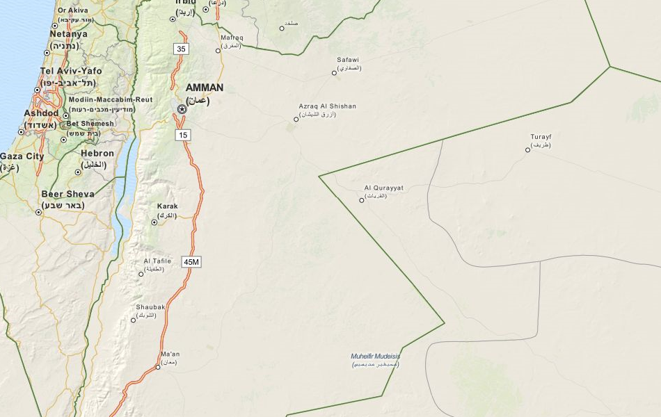 Map of Jordan in ExpertGPS GPS Mapping Software