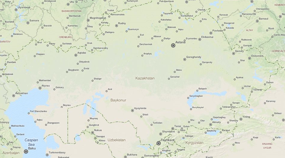 Map of Kazakhstan in ExpertGPS GPS Mapping Software