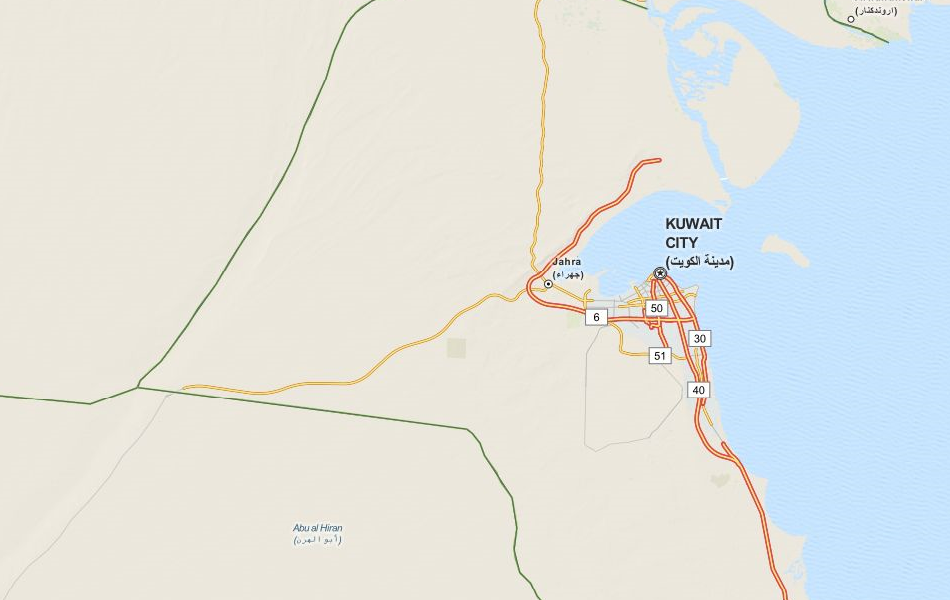 Map of Kuwait in ExpertGPS GPS Mapping Software