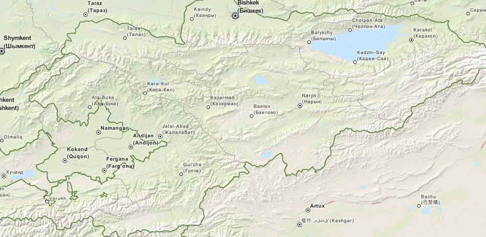 Map of Kyrgyzstan in ExpertGPS GPS Mapping Software