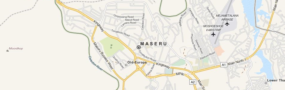 Map of Lesotho in ExpertGPS GPS Mapping Software