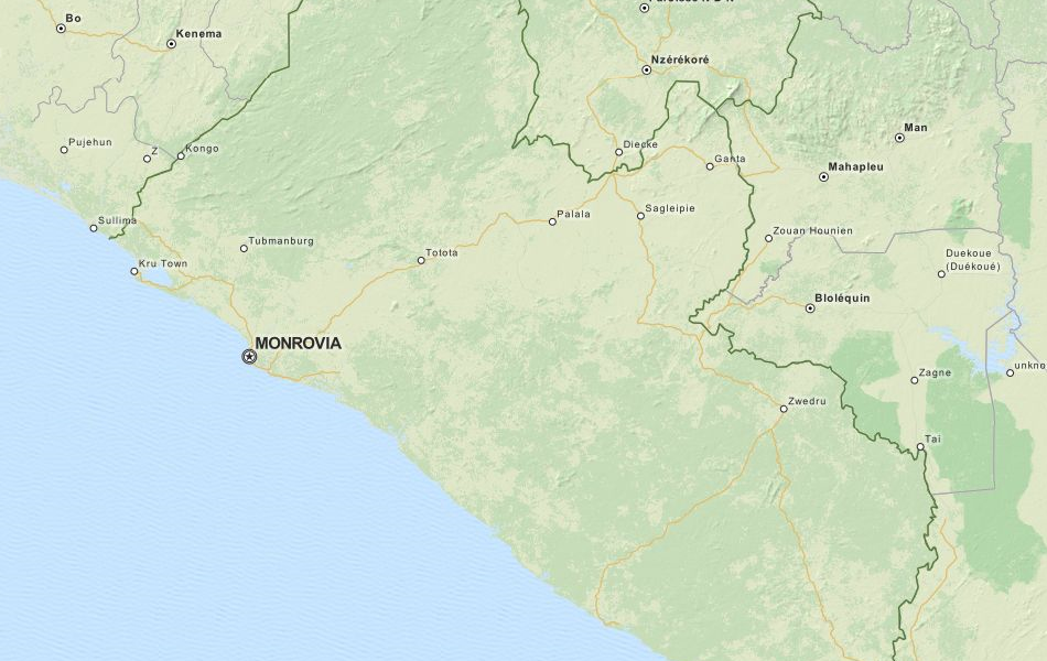 Map of Liberia in ExpertGPS GPS Mapping Software