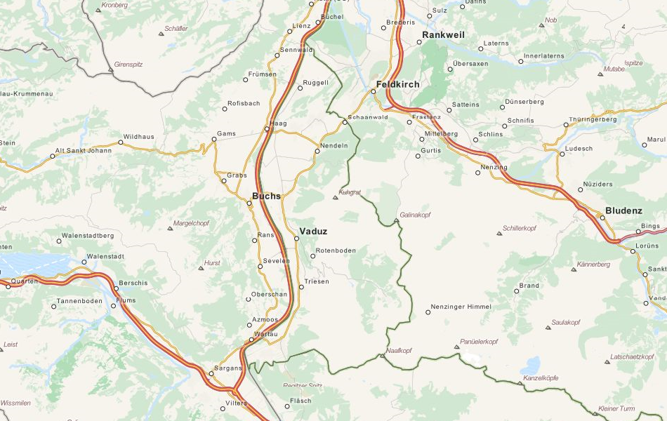 Map of Liechtenstein in ExpertGPS GPS Mapping Software