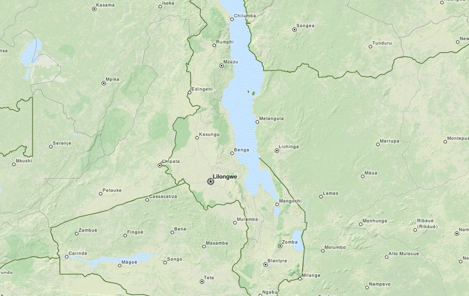 Map of Malawi in ExpertGPS GPS Mapping Software