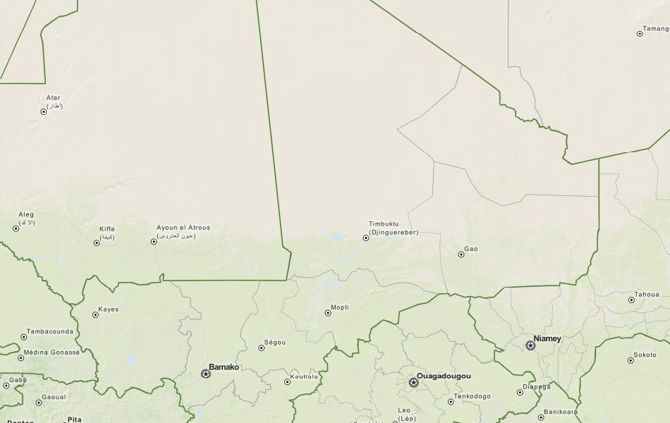 Map of Mali in ExpertGPS GPS Mapping Software
